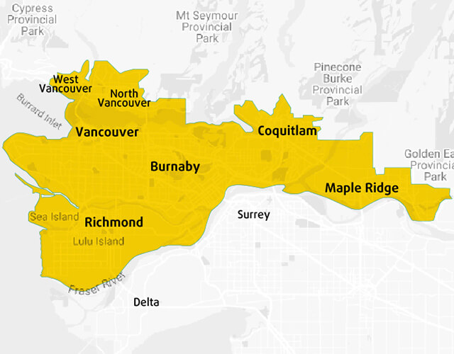 Map of SE Health service coverage area on Vancouver Island
